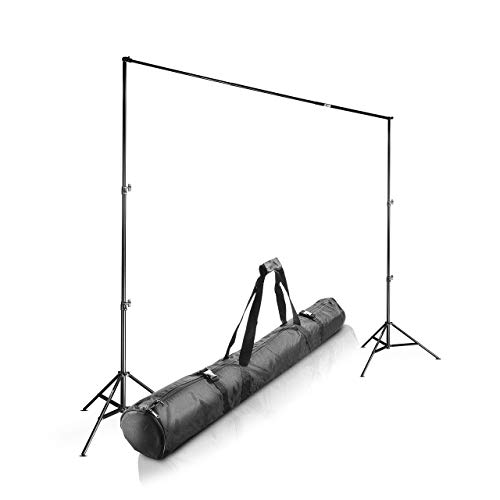 Walimex pro Teleskop Hintergrundsystem L 120-307 cm - stabiles Fotohintergrund System für Studio & Mobil I für Fotografie, Video & Green Screen I für Leinwände aus Papier & Stoff I Höhe 102-256cm