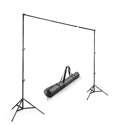 Walimex Pro Teleskop Hintergrundsystem (stufenlos ausziehbar von ca. 225-400 cm, inkl. 2x WT-806 Lampenstativen und praktischer Transporttasche)