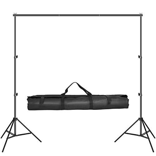 MVPower 2 x 3m Foto Hintergrund Ständer inkl. 4 x 75 cm Querbalken, 2 x Lampenstativen und 1 x Tragetasche, tragbares Hintergrundsystem für Fotostudio, Produktfotografie und Videoaufnahme