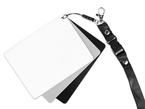 Ares Foto® Graukarte für Outdoor Fotografie. Inklusive Schwarz- und Weißreferenz und Trageband. Für Belichtungsmessung und Weißabgleich. Mittlere Größe: 13cm x 10cm (GC-3)