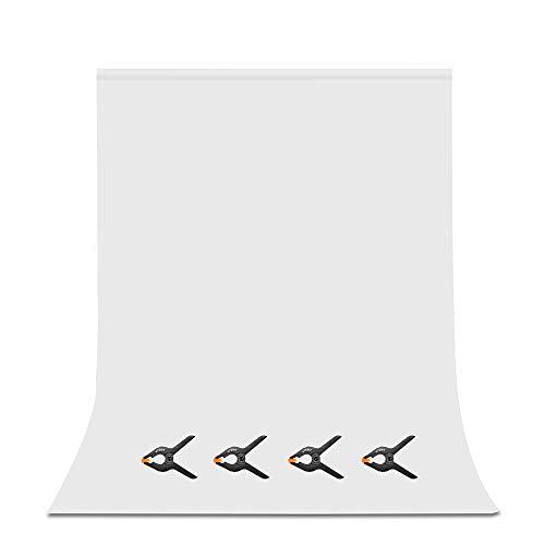 UTEBIT Photo Hintergrund Weiss 1.8x2.8M/6x9FT Anti-Falten White Backdrop Polyester Faltbare Hintergrundstoff für Hintergrundsystem Photo Fotografie Videoaufnahme
