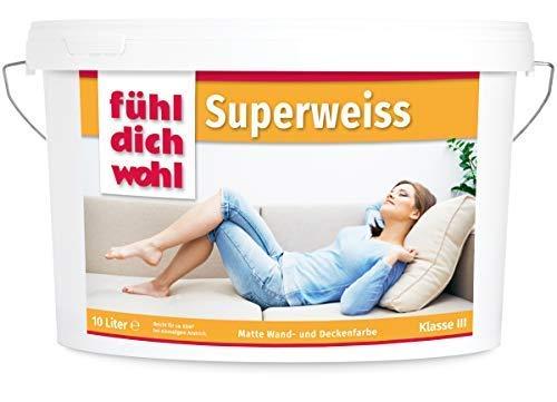 Fühl Dich Wohl Wandfarbe Superweiss 10l, matte Wand Farbe weiß, hohe Deckkraft