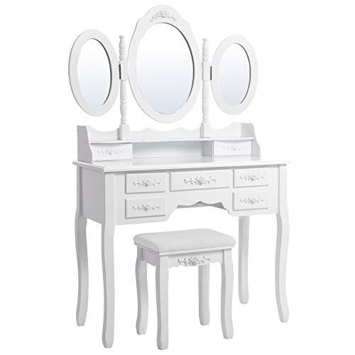 SONGMICS Schminktisch mit 3 Spiegel und Hocker, 7 Schubladen inkl. 2 Stück Unterteiler, Kippsicherung, luxuriös, 145 x 90 x 40 cm, weiß RDT91W