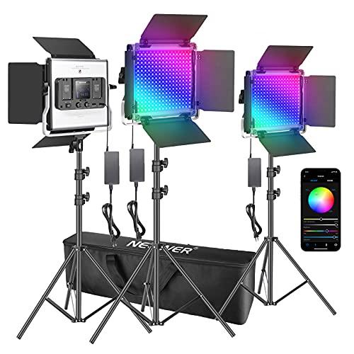Neewer 3er Pack 660 RGB LED Licht mit APP Steuerung Fotografie Videobeleuchtungs Set 660 SMD LEDs CRI95/3200K-5600K/Helligkeit 0-100%/0-360 einstellbare Farben/9 anwendbare Szenen