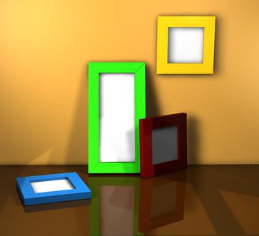 Die Farbgestaltung der Rahmen sollte sich in der Einrichtung wiederfinden, damit das Zimmer nicht zu bunt wirkt
