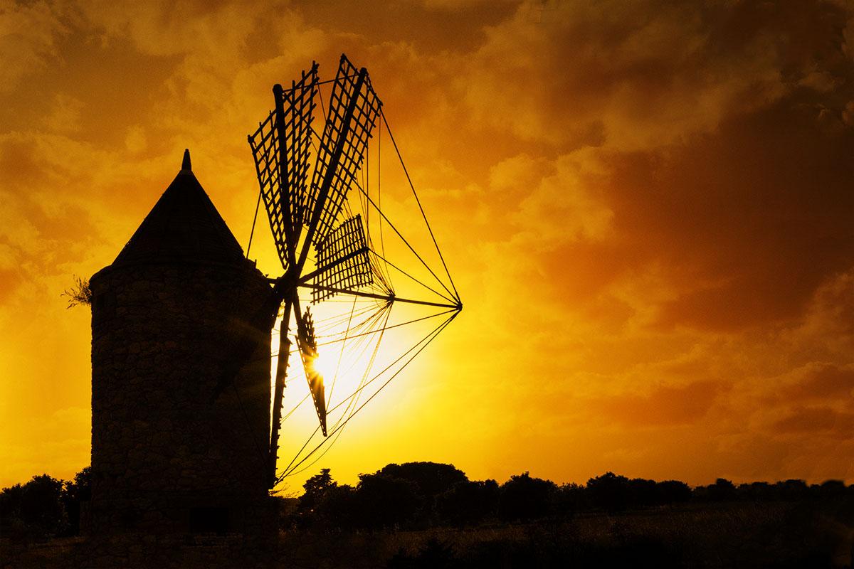 Mallorca Windmühle Sonnenuntergang