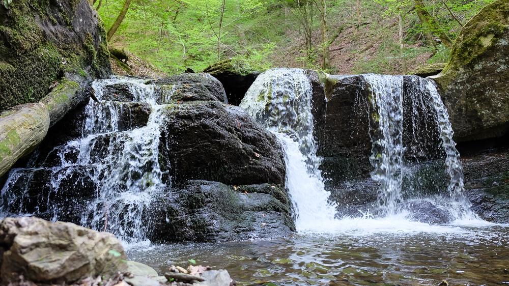 Sogar einen Wasserfall gibt es in der Ehrbachklamm