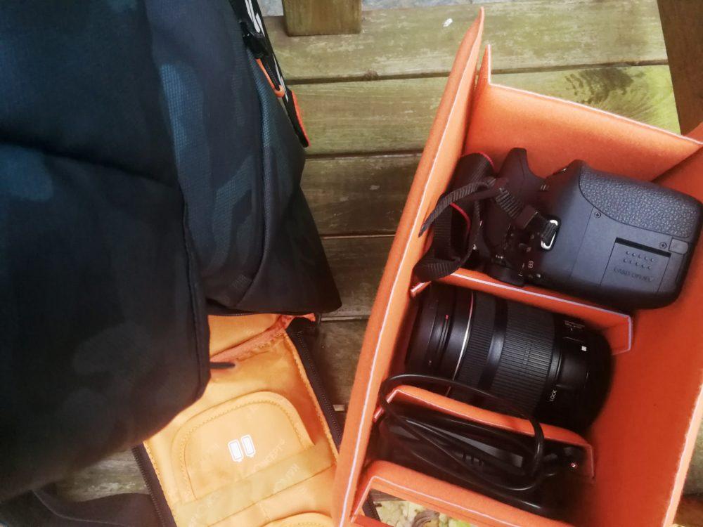 Variables Kameramodul im unteren Teil des Rucksacks