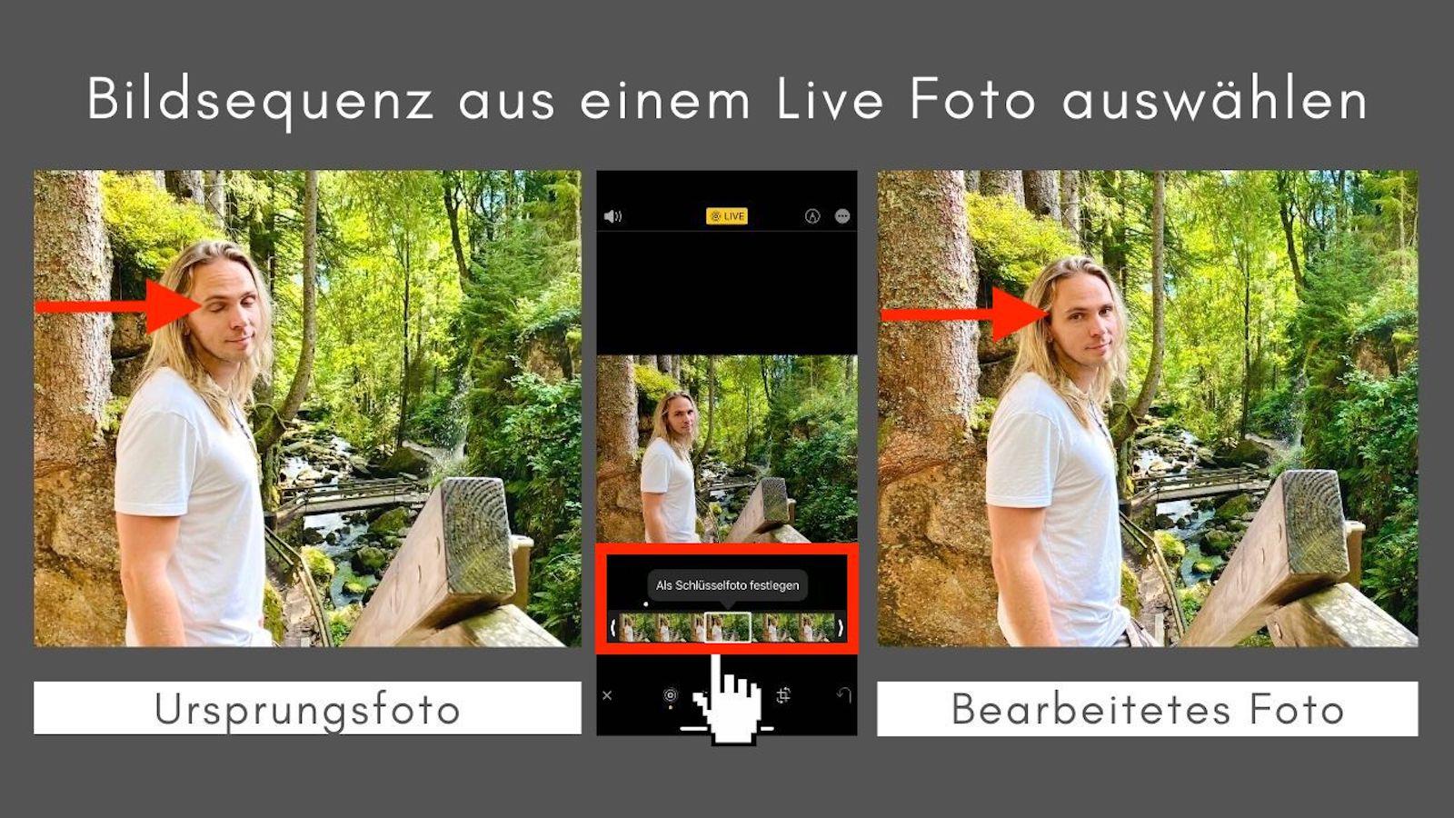 Bildbearbeitung iPhone Live Modus geschlossene Augen