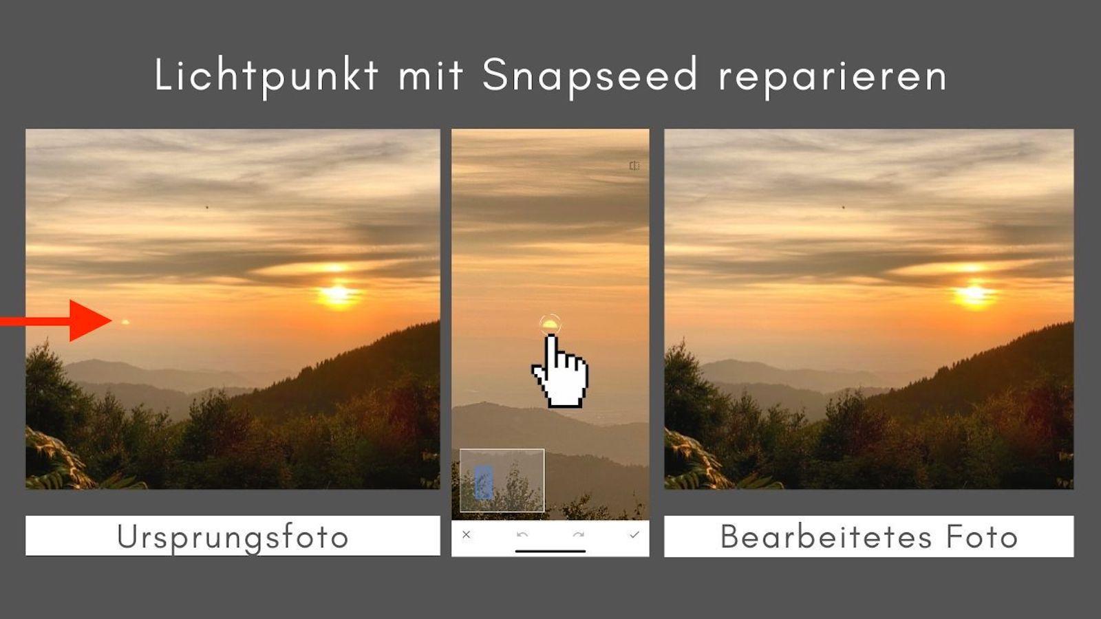 Lichtpunkt reparieren Snapseed App