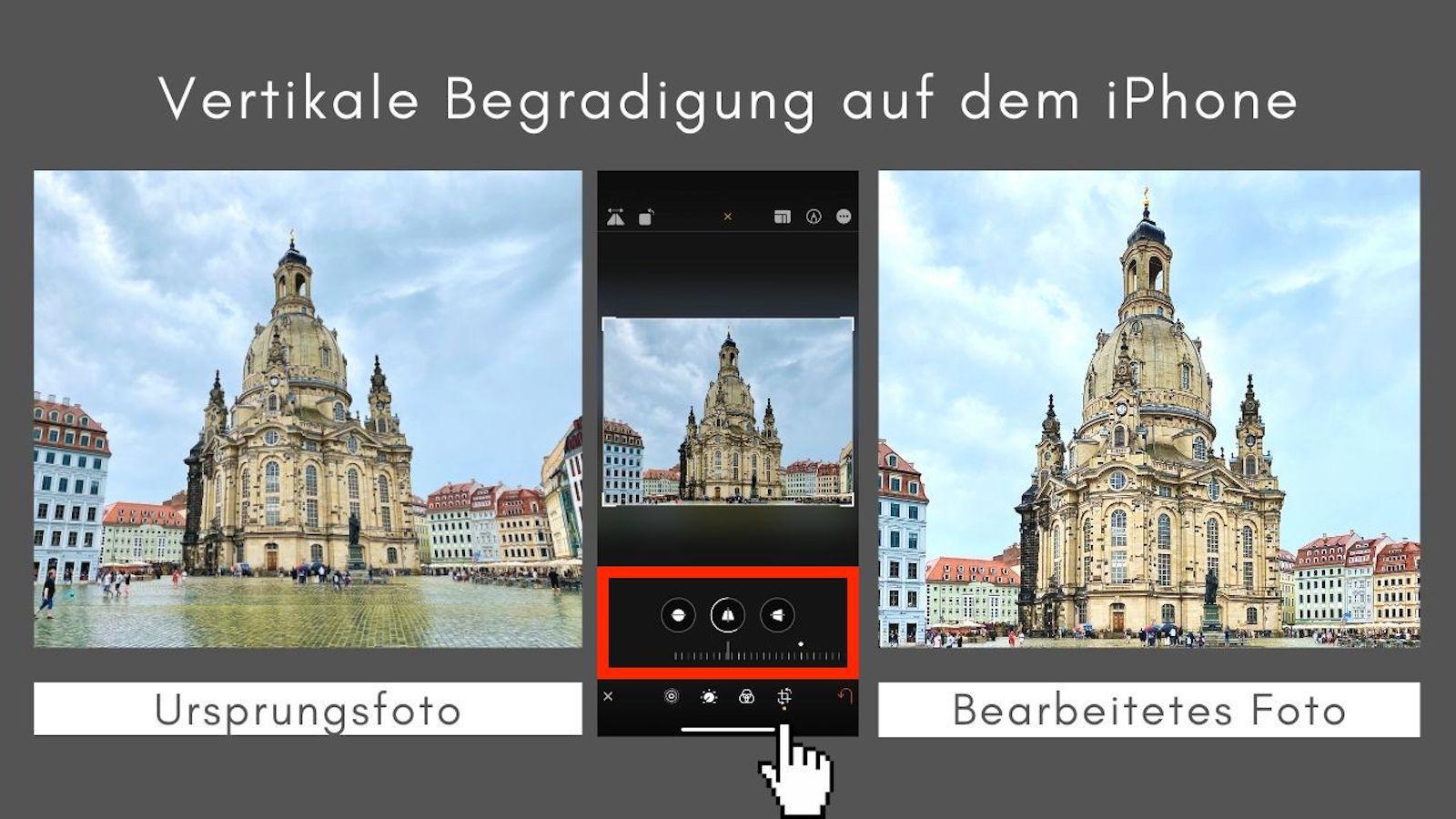 Vertikale Begradigung iPhone
